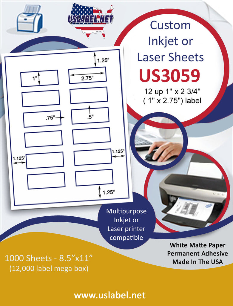 "US3059 - 1'' x2.75'' - 12 up label with square corners on a 8 1/2"" x 11"" inkjet or laser sheet."