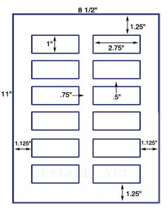 "US3059-1''x2.75''-12 up on a 8 1/2"" x 11"" label sheet."