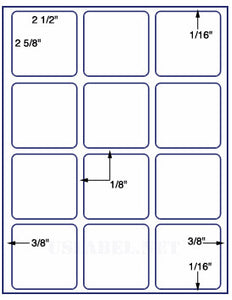 "US3060-2 1/2''x2 5/8''-12 up on a 8 1/2"" x 11"" label sheet."