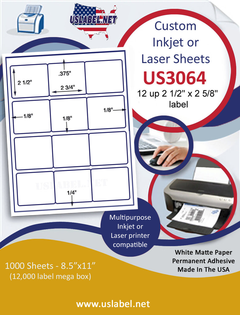 "US3064 - 2 3/4'' x 2 1/2'' - 12 up label on a 8 1/2"" x 11"" inkjet or laser sheet."