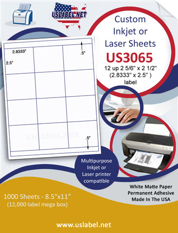 "US3065 - 2.833'' x 2.5'' - 12 up  label on a 8 1/2"" x 11"" inkjet or laser sheet."