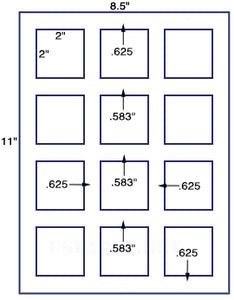 "US3066- 2'' Square-12 up label on a 8 1/2""x11"" label sheet."