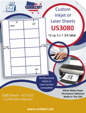 "US3080 - 3'' x 1 3/4'' - 12 up label on a 8 1/2"" x 11"" inkjet or laser sheet."