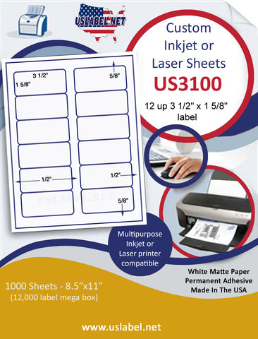 "US3100 - 3 1/2'' x 1 5/8'' -12 up  label on a 8 1/2"" x 11"" inkjet or laser sheet."