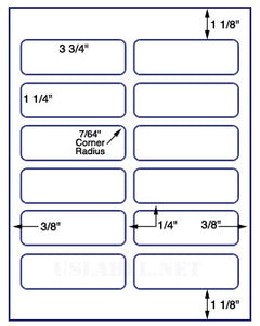 "US3101-3 3/4''x1 1/4''-12 up on a 8 1/2"" x 11"" label sheet."