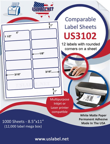 "US3102 - 4'' x 1 1/2''- 12 up Comparable 5197 label on a 8 1/2"" x 11"" inkjet or laser sheet."