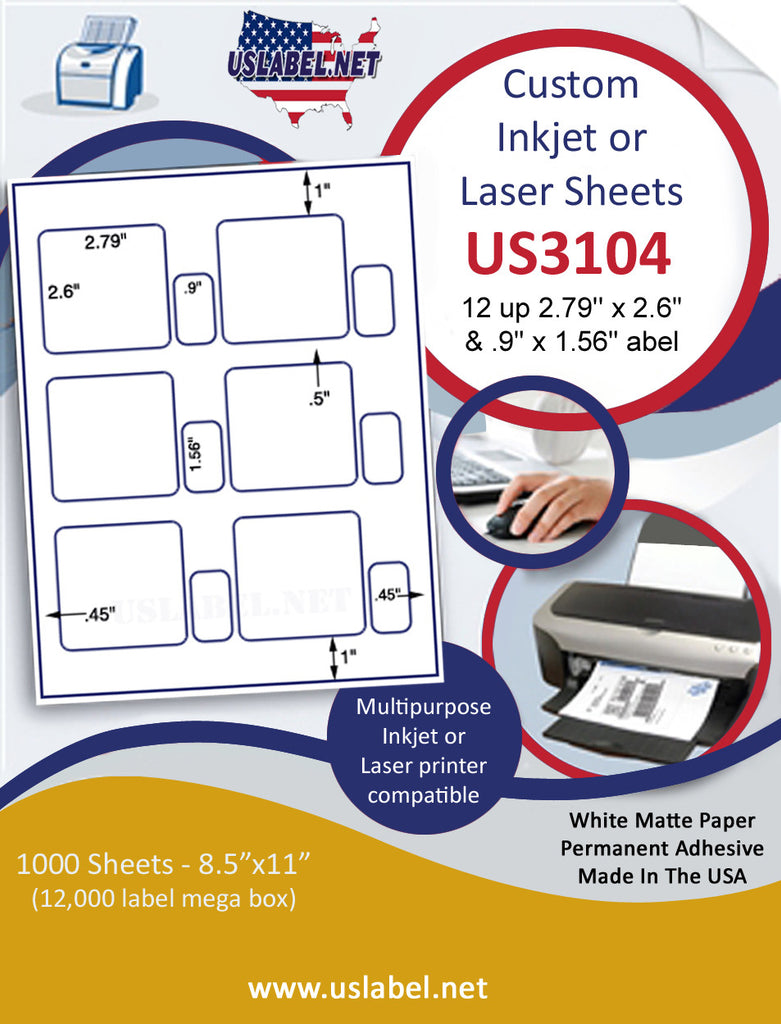 "US3104 - 2.79'' x 2.6'' & .9'' x 1.56'' -12 up label on a 8 1/2"" x 11"" inkjet or laser sheet."