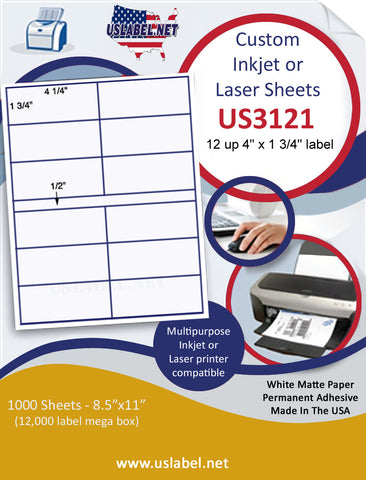 "US3121 - 4 1/4'' x 1 3/4'' - 12 up label on a 8 1/2"" x 11"" inkjet or laser sheet."