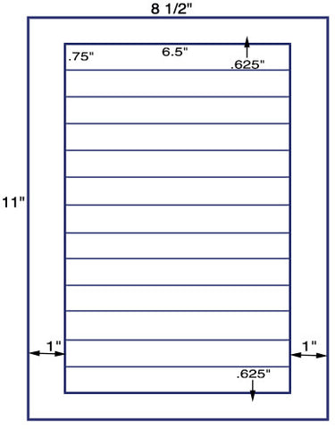"US3133 - 6.5'' x .75'' 13 up - label on a 8 1/2"" x 11"" inkjet or laser sheet."