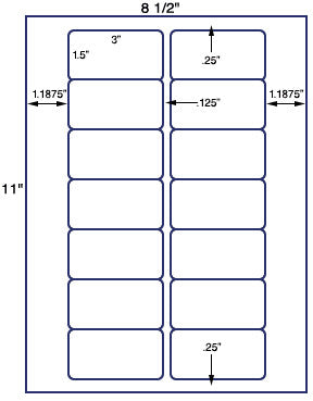 "US3161 - 3'' x 1.5'' - 14 up label on a 8 1/2"" x 11"" inkjet or laser sheet."