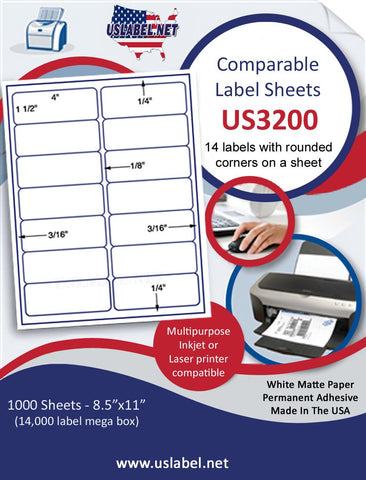 "US3200 - 4'' x 1 1/2''- 14 up Brand Name Comparable 5159 label on a 8 1/2"" x 11"" inkjet or laser sheet."