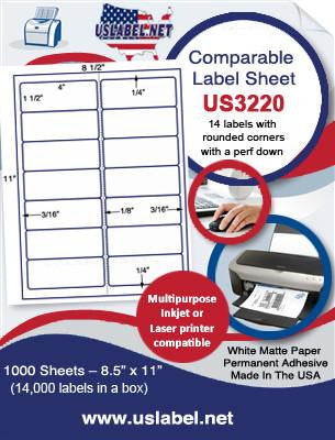 "US3220 - 4'' x 1 1/2''- 14 up label on a 8 1/2"" x 11"" sheet."