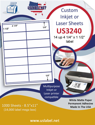 "US3240 - 4 1/4'' x 1 1/2'' - 14 up  label on a 8 1/2"" x 11"" inkjet or laser sheet."
