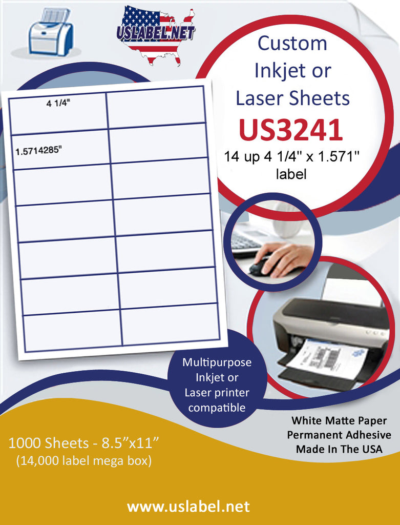 "US3241 - 4 1/4'' x 1.571'' - 14 up label on a 8 1/2"" x 11"" inkjet or laser sheet."