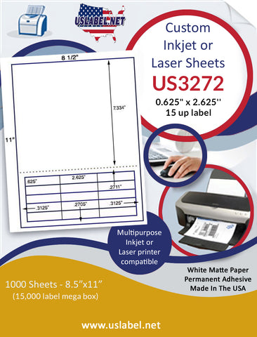 "US3272 - .625"" x 2.625'' - 15 up label on a 8 1/2"" x 11"" inkjet or laser sheet."