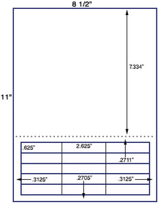 "US3272-.625""x2.625''-15 up on a 8 1/2"" x11"" label sheet."