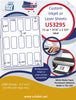"US3295 - 1 5/16'' x 2 3/4'' -  15 up label on a 8 1/2"" x 11"" inkjet or laser sheet."