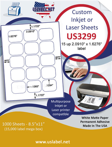 "US3299 - 2.0910'' x 1.6276'' - 15 up label on a 8 1/2"" x 11"" inkjet or laser sheet."