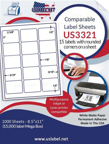 "US3321 - 2 5/8'' x 2'' - ' label with vertical gutters  on a 8 1/2"" x 11"" inkjet or laser sheet."