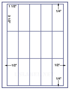 "US3360-1 1/2''x3 1/2''-15 up on a 8 1/2""x11"" label sheet."