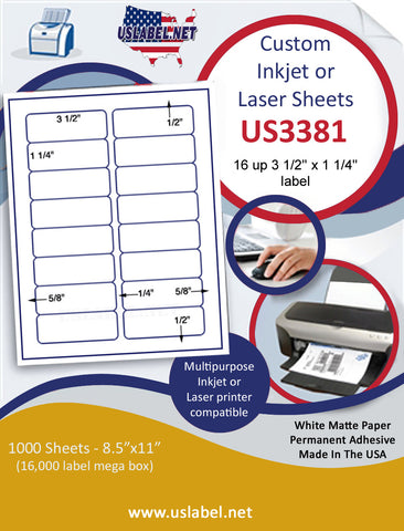 "US3381 - 3 1/2'' x 1 1/4'' - 16 up label on a 8 1/2"" x 11"" inkjet or laser label sheet."