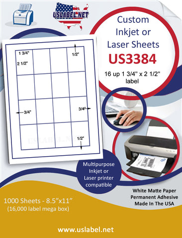 "US3384 - 1 3/4'' x 2 1/2'' -16 up label on a 8 1/2"" x 11"" inkjet or laser label sheet."