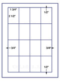 "US3384-1 3/4''x2 1/2''-16 up on a 8 1/2""x11"" label sheet."