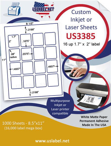 "US3385 - 1.7'' x  2'' - 16 up label on a 8 1/2"" x 11"" inkjet or laser label sheet."