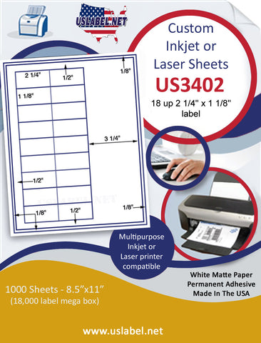 "US3402 - 2 1/4'' x 1 1/8'' 18 up label on a 8 1/2"" x 11"" inkjet or laser label sheet."