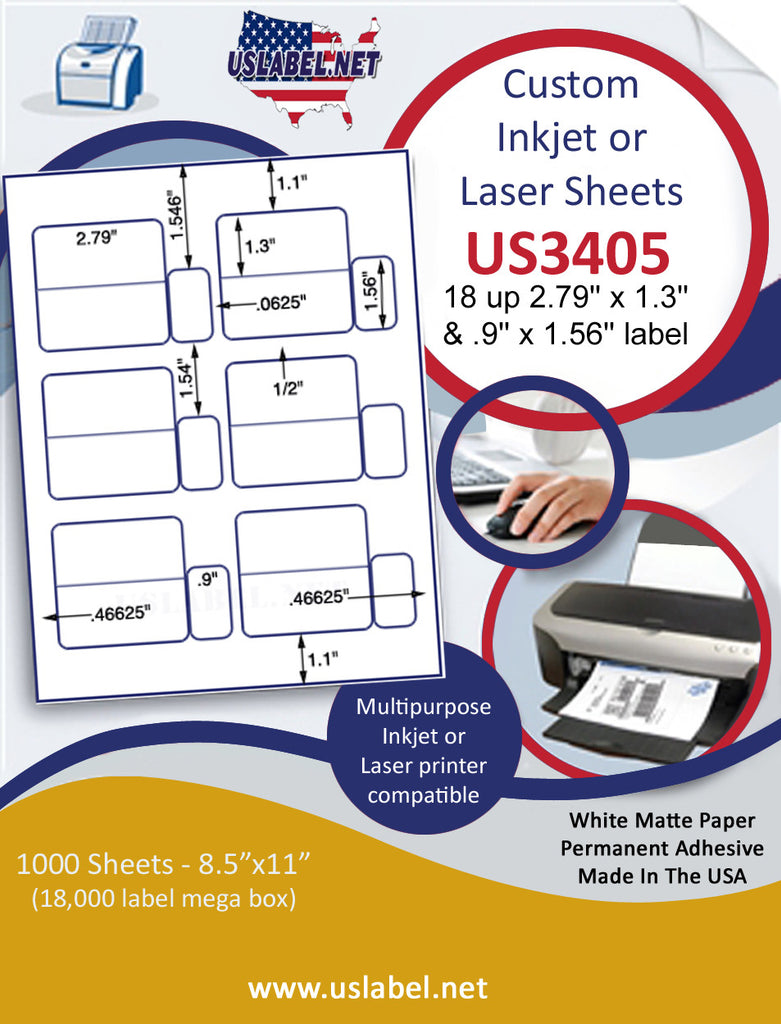"US3405 - 2.79'' x 1.3''  & .9'' x 1.56'' - 18 up label on a 8 1/2"" x 11"" inkjet or laser label sheet."