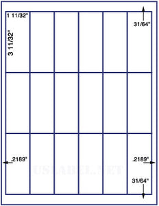 "US3406-1 11/32''x3 11/32''-18 up on a 8.5""x11"" label sheet."