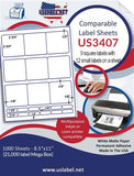 "US3407-2 3/4'' Square 21 up on a 8.5""x11"" label sheet."