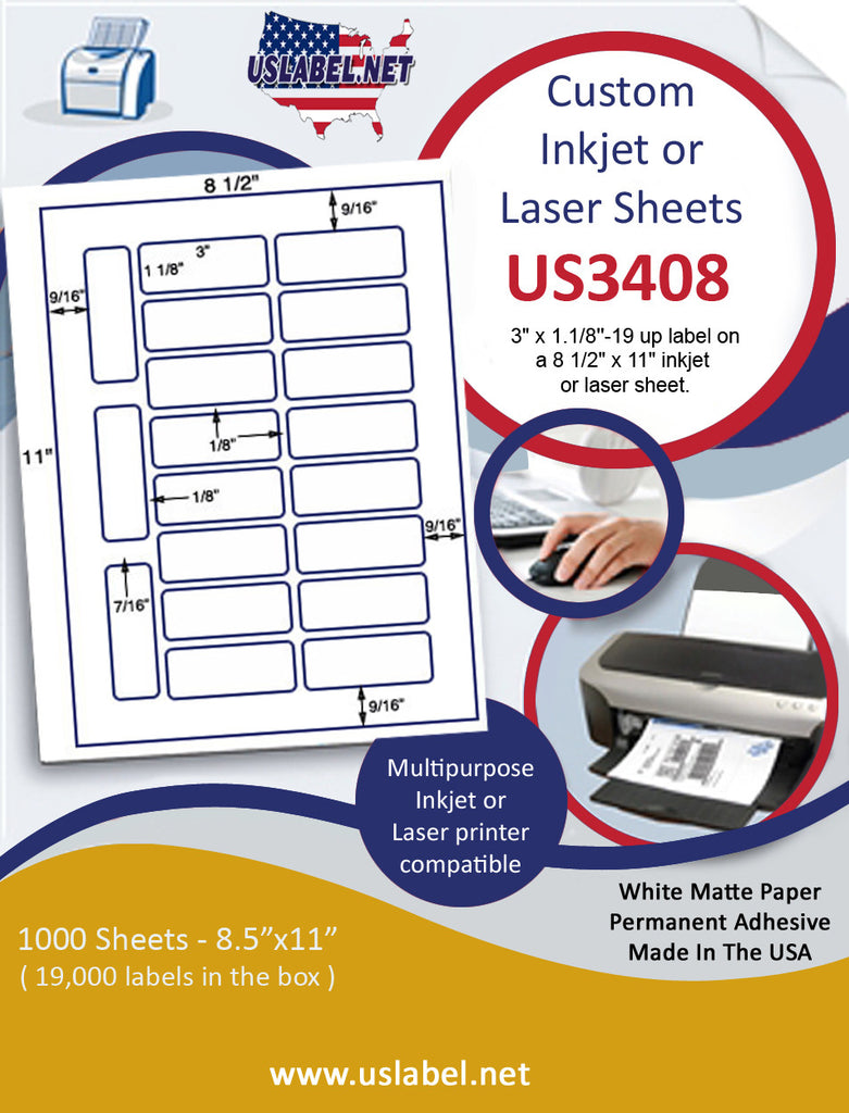 "US3408 - 3"" x 1.1/8''-19 up label on a 8 1/2"" x 11"" inkjet or laser sheet."