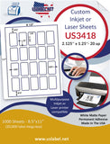 "US3418-2.125''x1.25''-20 up on a 8.5"" x 11"" label sheet."