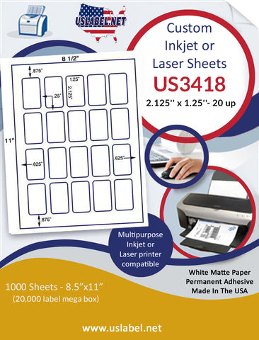 "US3418 - 2.125'' x 1.25''- 20 up label on a 8 1/2"" x 11"" inkjet or laser label sheet."