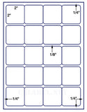 "US3425-2'' Square 20 up on a 8 1/2"" x 11"" label sheet."