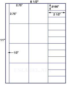 "US3426-2.75""square 8 up on a 8 1/2"" x 11"" label sheet."