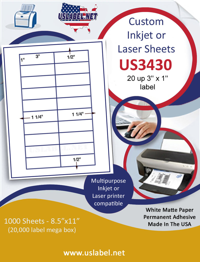 "US3430 - 3'' x 1'' 20 up label on a 8 1/2"" x 11"" inkjet or laser sheet."