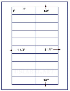 "US3430-3''x1''-20 up on a 8 1/2"" x 11"" label sheet."