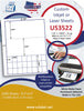 "US3522- 1.22'' x 1.0625'' - 24 up label on a 8 1/2"" x 11"" inkjet or laser sheet."