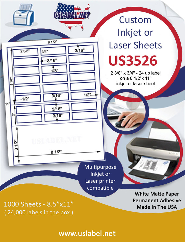 "US3526 - 2 3/8'' x 3/4'' - 24 up label on a 8 1/2""x 11"" inkjet or laser sheet."