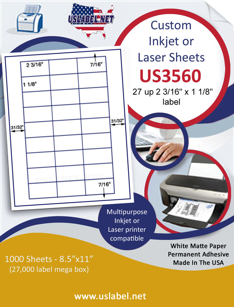 "US3560 - 2 3/16'' x 1 1/8'' - 27 up label on a 8 1/2""x 11"" inkjet or laser sheet."