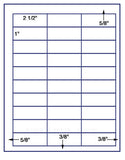 "US3599-2 1/2''x1''-30 up on a 8 1/2"" x 11"" label sheet."