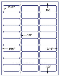 "US3640-2 5/8''x1""-30 up Avery #5160 8 1/2""x11"" label sheet."