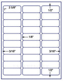 "US3642-1''x25/8''-30 up Avery #5160 on 8.5""x11""label sheet."
