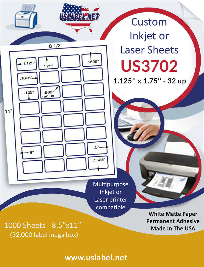"US3702 - 1.125'' x 1.75'' - 32 up label on a 8 1/2"" x 11"" inkjet or label sheet."