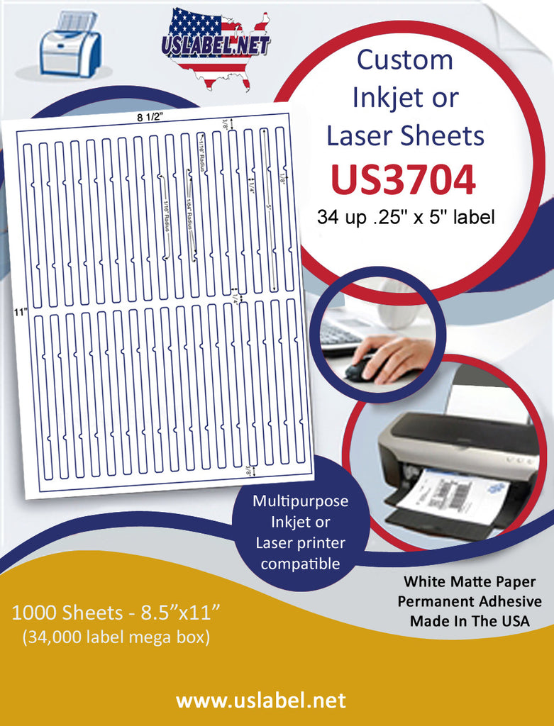 "US3704 - .25'' x 5'' - 34 up label on a 8 1/2"" x 11"" inkjet or label sheet."