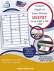 "US3707 - 2 5/8'' x 7/8'' - 33 up label on a 8 1/2"" x 11"" inkjet or label sheet."