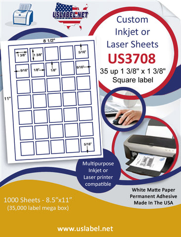 "US3708 -  35 up 1 3/8'' square label on a 8 1/2"" x 11"" inkjet or laser label sheet."