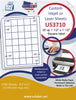 "US3710 -35 up 1 1/2'' x 1 1/2'' Square label on a 8 1/2"" x 11"" inkjet or label sheet."
